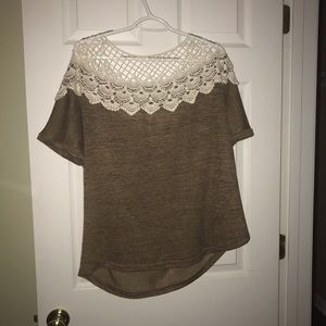 brown shirt with lace